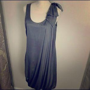 H&M Grey Satin Draped Bubble Hem Dress